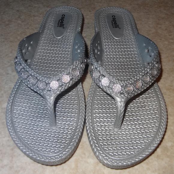 f6b0617da Capelli of New York Shoes - Capelli of New York Silver Woven Flip Flops